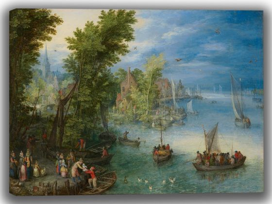 Brueghel the Elder, Jan: River Landscape. Fine Art Canvas. Sizes: A4/A3/A2/A1 (004084)